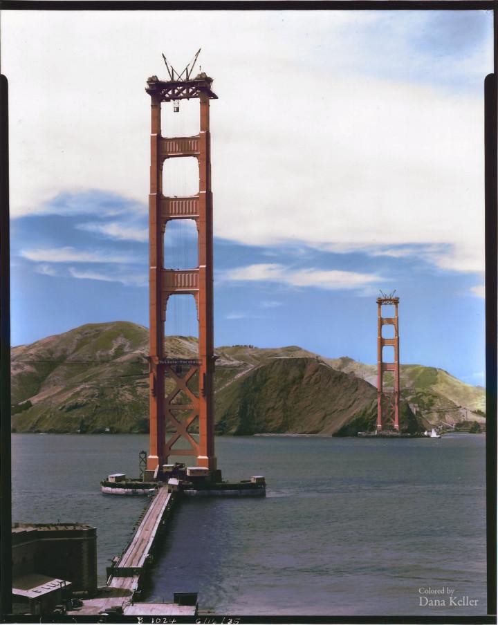 36. Construction of the Golden Gate Bridge in San Francisco, ca. 1935.